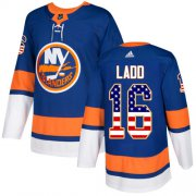 Wholesale Cheap Adidas Islanders #16 Andrew Ladd Royal Blue Home Authentic USA Flag Stitched Youth NHL Jersey