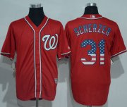 Wholesale Cheap Nationals #31 Max Scherzer Red USA Flag Fashion Stitched MLB Jersey
