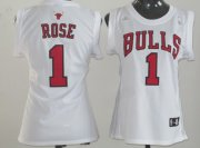 Wholesale Cheap Chicago Bulls #1 Derrick Rose White Womens Jersey
