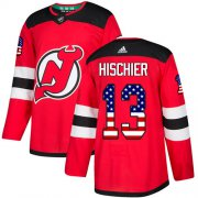 Wholesale Cheap Adidas Devils #13 Nico Hischier Red Home Authentic USA Flag Stitched NHL Jersey