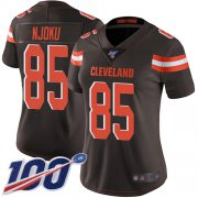 Wholesale Cheap Nike Browns #85 David Njoku Brown Team Color Women's Stitched NFL 100th Season Vapor Limited Jersey