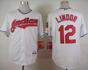 Wholesale Cheap Indians #12 Francisco Lindor White Cool Base Stitched MLB Jersey