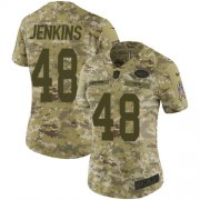 Wholesale Cheap Nike Jets #48 Jordan Jenkins Camo Women's Stitched NFL Limited 2018 Salute to Service Jersey