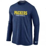 Wholesale Cheap Nike Green Bay Packers Authentic Font Long Sleeve T-Shirt Dark Blue
