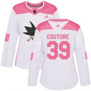 Wholesale Cheap Adidas Sharks #39 Logan Couture White/Pink Authentic Fashion Women's Stitched NHL Jersey