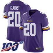 Wholesale Cheap Nike Vikings #20 Jeff Gladney Purple Team Color Men's Stitched NFL 100th Season Vapor Untouchable Limited Jersey