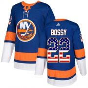 Wholesale Cheap Adidas Islanders #22 Mike Bossy Royal Blue Home Authentic USA Flag Stitched NHL Jersey