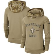 Wholesale Cheap Women's New Orleans Saints Nike Khaki 2019 Salute to Service Therma Pullover Hoodie