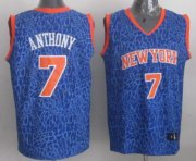 Wholesale Cheap New York Knicks #7 Carmelo Anthony Blue Leopard Print Fashion Jersey
