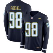 Wholesale Cheap Nike Chargers #98 Isaac Rochell Navy Blue Team Color Men's Stitched NFL Limited Therma Long Sleeve Jersey