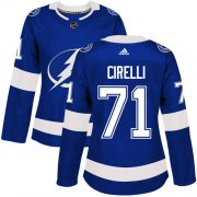Cheap Adidas Lightning #71 Anthony Cirelli Blue Home Authentic Women's Stitched NHL Jersey