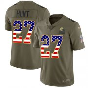 Wholesale Cheap Nike Browns #27 Kareem Hunt Olive/USA Flag Men's Stitched NFL Limited 2017 Salute To Service Jersey