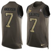 Wholesale Cheap Nike Saints #7 Morten Andersen Green Men's Stitched NFL Limited Salute To Service Tank Top Jersey