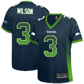 Wholesale Cheap Nike Seahawks #3 Russell Wilson Steel Blue Team Color Women\'s Stitched NFL Elite Drift Fashion Jersey