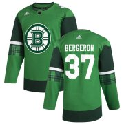 Wholesale Cheap Boston Bruins #37 Patrice Bergeron Men's Adidas 2020 St. Patrick's Day Stitched NHL Jersey Green.jpg