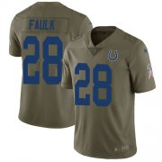 Wholesale Cheap Nike Colts #28 Marshall Faulk Olive Men's Stitched NFL Limited 2017 Salute To Service Jersey