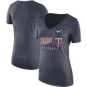 Wholesale Cheap Minnesota Twins Nike Women's Practice Tri-Blend V-Neck T-Shirt Navy
