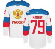 Wholesale Cheap Team Russia #79 Andrei Markov White 2016 World Cup Stitched NHL Jersey
