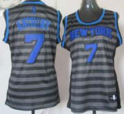 Wholesale Cheap New York Knicks #7 Carmelo Anthony Gray With Black Pinstripe Womens Jersey