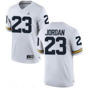 Wholesale Cheap Men's Michigan Wolverines #23 Michael Jordan White Stitched College Football Brand Jordan NCAA Jersey
