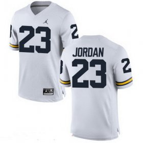 Wholesale Cheap Men\'s Michigan Wolverines #23 Michael Jordan White Stitched College Football Brand Jordan NCAA Jersey