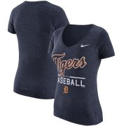 Wholesale Cheap Detroit Tigers Nike Women's Practice 1.7 Tri-Blend V-Neck T-Shirt Heathered Navy