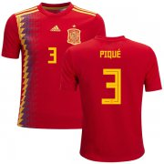 Wholesale Cheap Spain #3 Pique Red Home Kid Soccer Country Jersey
