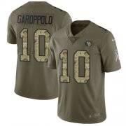 Wholesale Cheap Nike 49ers #10 Jimmy Garoppolo Olive/Camo Men's Stitched NFL Limited 2017 Salute To Service Jersey