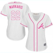 Wholesale Cheap Braves #22 Nick Markakis White/Pink Fashion Women's Stitched MLB Jersey