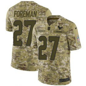 Wholesale Cheap Nike Texans #27 D\'Onta Foreman Camo Youth Stitched NFL Limited 2018 Salute to Service Jersey