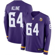 Wholesale Cheap Nike Vikings #64 Josh Kline Purple Team Color Men's Stitched NFL Limited Therma Long Sleeve Jersey