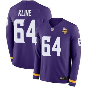 Wholesale Cheap Nike Vikings #64 Josh Kline Purple Team Color Men\'s Stitched NFL Limited Therma Long Sleeve Jersey