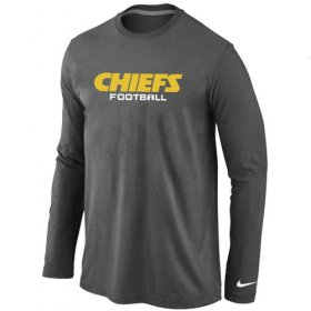 Wholesale Cheap Nike Kansas City Chiefs Authentic Font Long Sleeve T-Shirt Dark Grey