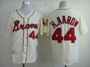 Wholesale Cheap Mitchell And Ness 1963 Braves #44 Hank Aaron Cream Throwback Stitched MLB Jersey