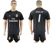 Wholesale Cheap Real Madrid #1 I.Casillas Black Goalkeeper Soccer Club Jersey