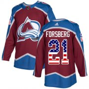 Wholesale Cheap Adidas Avalanche #21 Peter Forsberg Burgundy Home Authentic USA Flag Stitched NHL Jersey