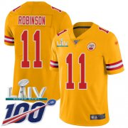 Wholesale Cheap Nike Chiefs #11 Demarcus Robinson Gold Super Bowl LIV 2020 Men's Stitched NFL Limited Inverted Legend 100th Season Jersey
