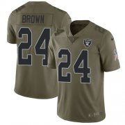 Wholesale Cheap Nike Raiders #24 Willie Brown Olive Men's Stitched NFL Limited 2017 Salute To Service Jersey