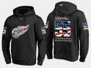 Wholesale Cheap Red Wings #55 Niklas Kronwall NHL Banner Wave Usa Flag Black Hoodie
