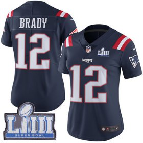 Wholesale Cheap Nike Patriots #12 Tom Brady Navy Blue Super Bowl LIII Bound Women\'s Stitched NFL Limited Rush Jersey