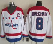 Wholesale Cheap Capitals #8 Alex Ovechkin White CCM Throwback Stitched NHL Jersey
