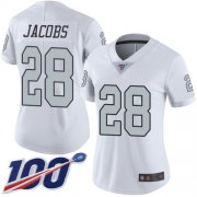 Wholesale Cheap Nike Raiders #28 Josh Jacobs White Women's Stitched NFL Limited Rush 100th Season Jersey