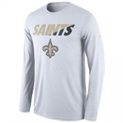 Wholesale Cheap Men's New Orleans Saints Nike White Legend Staff Practice Long Sleeves Performance T-Shirt