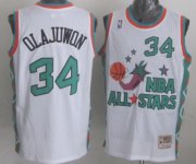 Wholesale Cheap NBA 1996 All-Star #34 Hakeem Olajuwon White Swingman Throwback Jersey