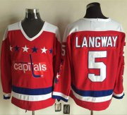 Wholesale Cheap Capitals #5 Rod Langway Red Alternate CCM Throwback Stitched NHL Jersey
