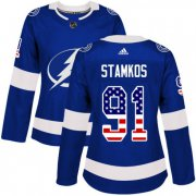 Cheap Adidas Lightning #91 Steven Stamkos Blue Home Authentic USA Flag Women's Stitched NHL Jersey