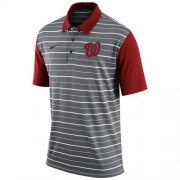 Wholesale Cheap Men's Washington Nationals Nike Gray Dri-FIT Stripe Polo