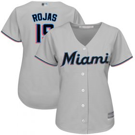 Wholesale Cheap Marlins #19 Miguel Rojas Grey Road Women\'s Stitched MLB Jersey