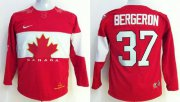 Wholesale Cheap Team Canada 2014 Olympic #37 Patrice Bergeron Red Stitched Youth NHL Jersey