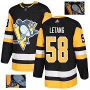 Wholesale Cheap Adidas Penguins #58 Kris Letang Black Home Authentic Fashion Gold Stitched NHL Jersey